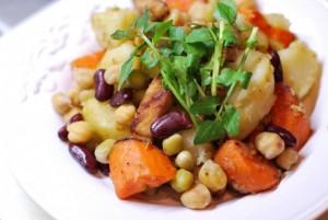 pork-saute-boiled-vegetables-hot-salad